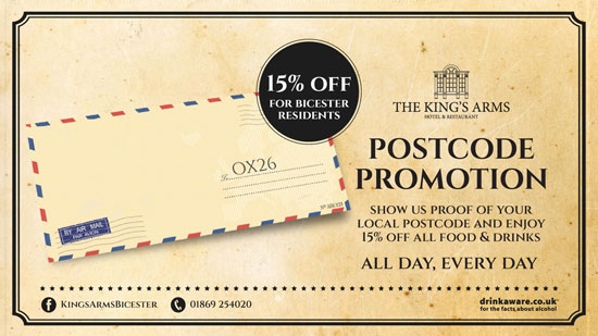 The Kings Arms Bicester Postcode Promotion