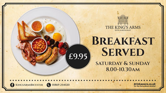 The King's Arm's Hotel and Restaurant - Breakfast is available