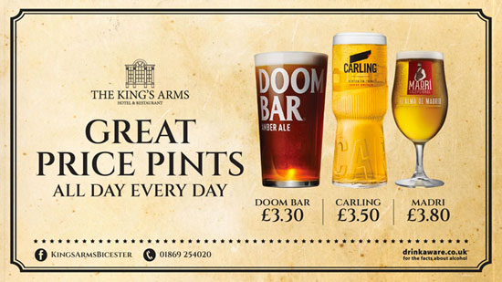 The King's Arms Hotel & Restaurant in Bicester - Great Price Pints